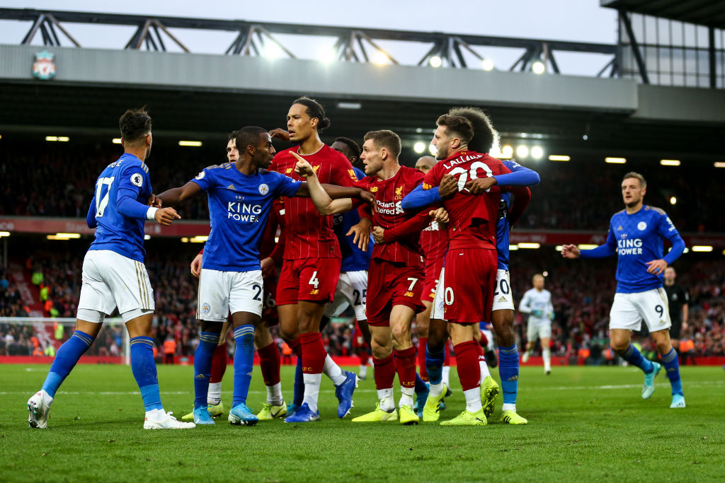 Liverpool and Leicester City players engage in a bust-up after full time whistle