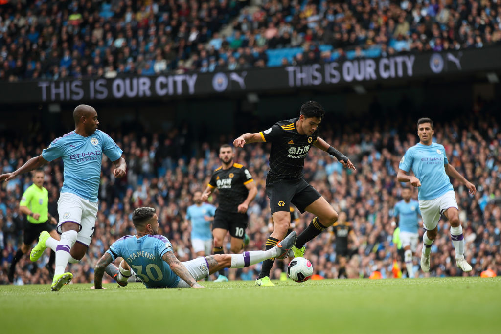 Watch: Raul Jiminez nutmegs Otamendi to help create Wolves' first goal vs Man City