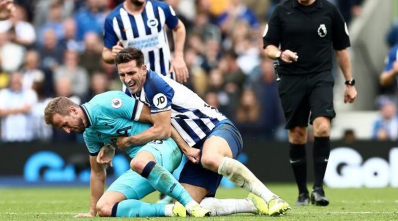Watch: Harry Kane manhandled by Lewis Dunk after grabbing him the wrong way