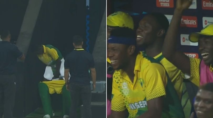 WATCH: Nigeria batsman Sulaimon Runsewe runs off the ground for bathroom break vs Canada