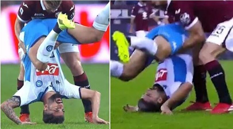 Napoli defender suffers huge injury after landing on head against Torino