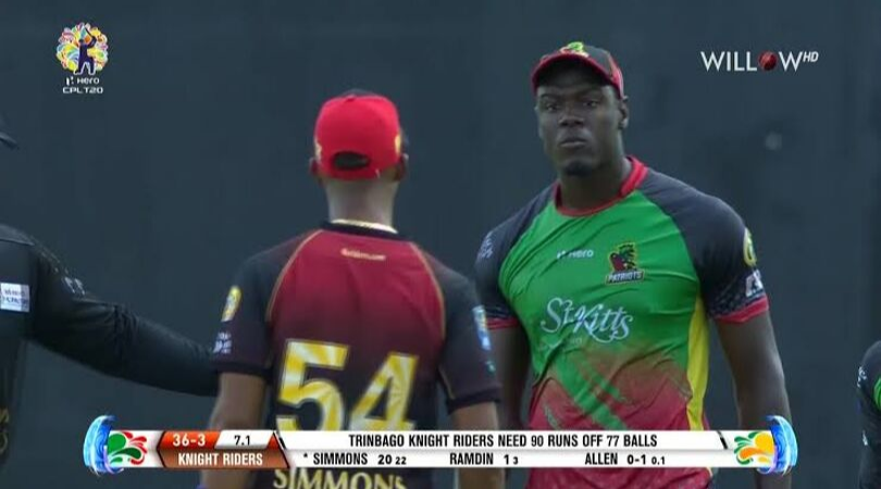 Watch: Carlos Braithwaite and Lendl Simmons have a verbal altercation after outlandish run-out appeal