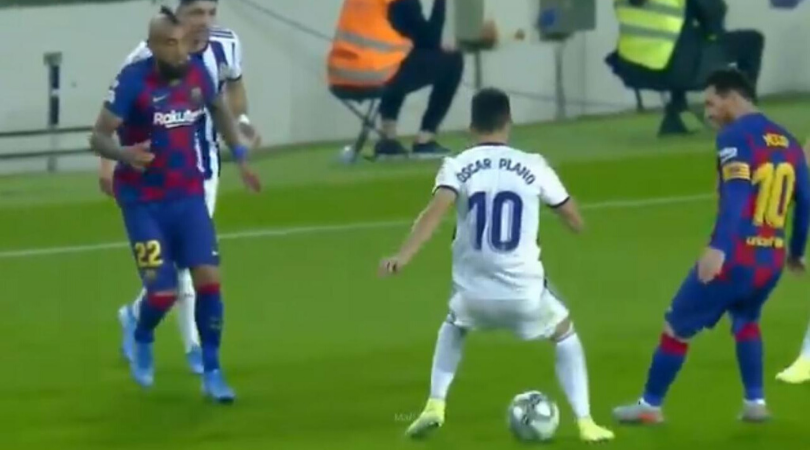 Watch Oscar Plano's look of despair after being nutmegged by Lionel Messi