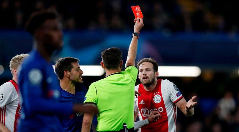 Ajax down to 9 men after Referee sends off both Daley Blind and Joel Veltman in the space of seconds vs Chelsea