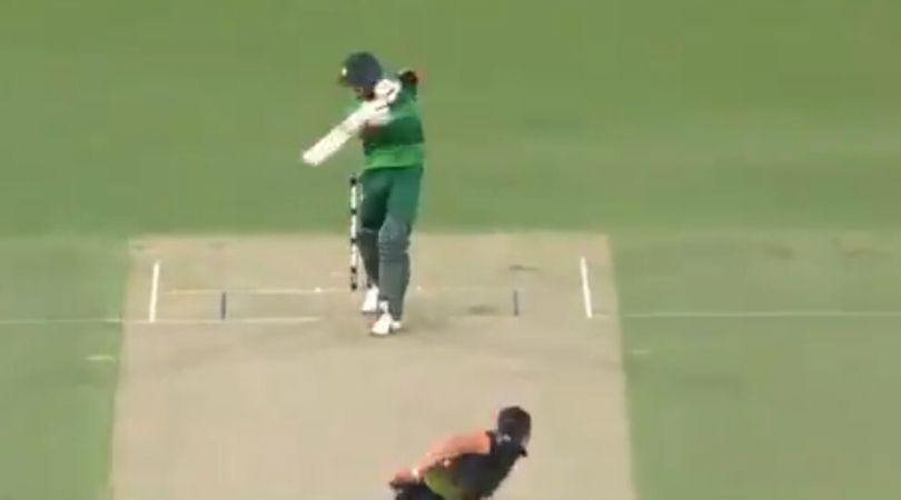 WATCH: Babar Azam drives Mitchell Starc effortlessly through covers for classy four in Canberra