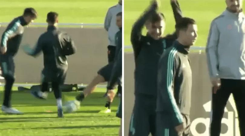 Cristiano Ronaldo gets nutmegged in Juventus training, has an awkward reaction