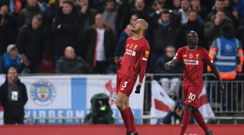 Fabinho goal vs Man City Liverpool take lead with a Fabinho stunner following controversial handball appeal