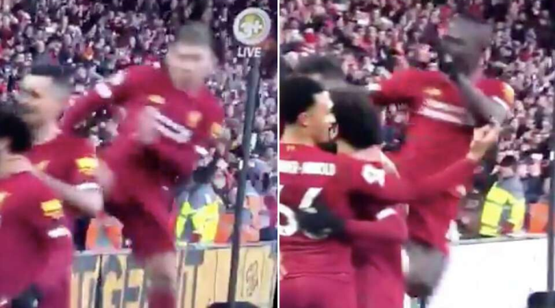 Sadio Mane celebrates Virgil Van Dijk goal with Robert Firmino celebration imitation