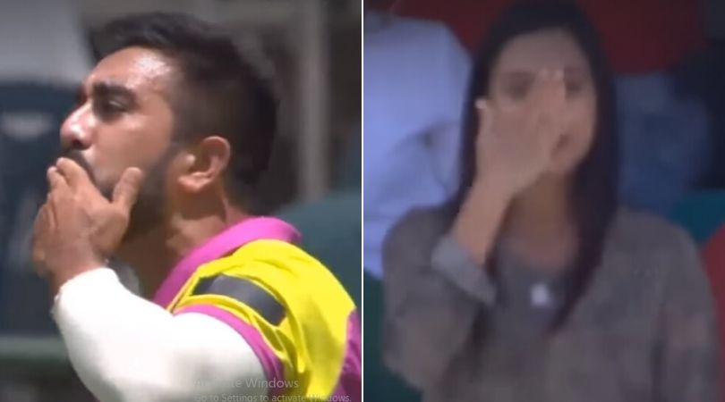 WATCH: Tabraiz Shamsi blows flying kiss to wife as part of wicket-taking celebration; she responds