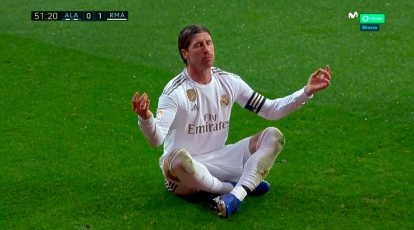 Watch Sergio Ramos score and copying Mohamed Salah's goal celebration in process