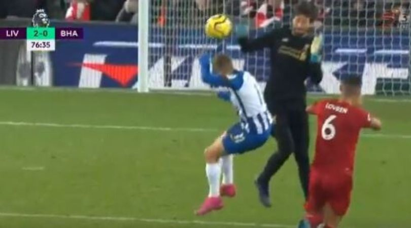 Alisson Red Card: Watch Liverpool goalkeeper makes blunder and get red card against Brighton