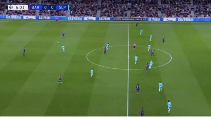 Barcelona was playing ultimate attacking football with 1-2-1-6 formation against Slavia Prague