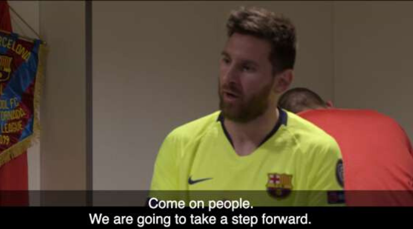 Watch Lionel Messi make inspiring speech to Barcelona teammates before 4-0 loss to Liverpool