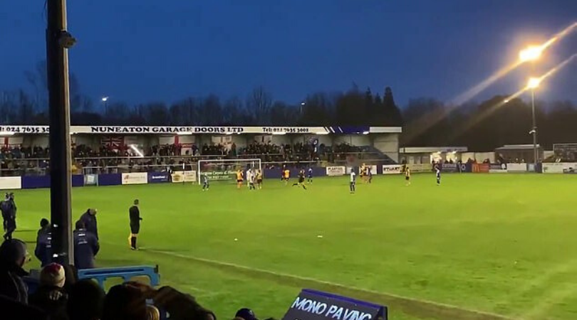 Watch Nuneaton Borough keeper misses penalty and hilariously breaks a light off the roof of the stand