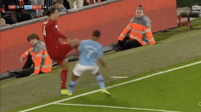 Watch Raheem Sterling intentionally stamp Van Dijk, receive no card