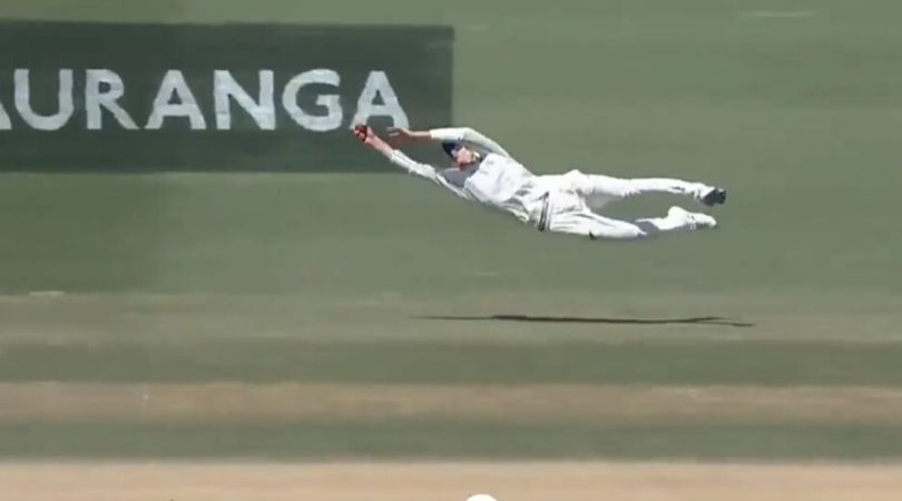 WATCH: Mitchell Santner grabs one-handed blinder to dismiss Ollie Pope in 1st Test vs England