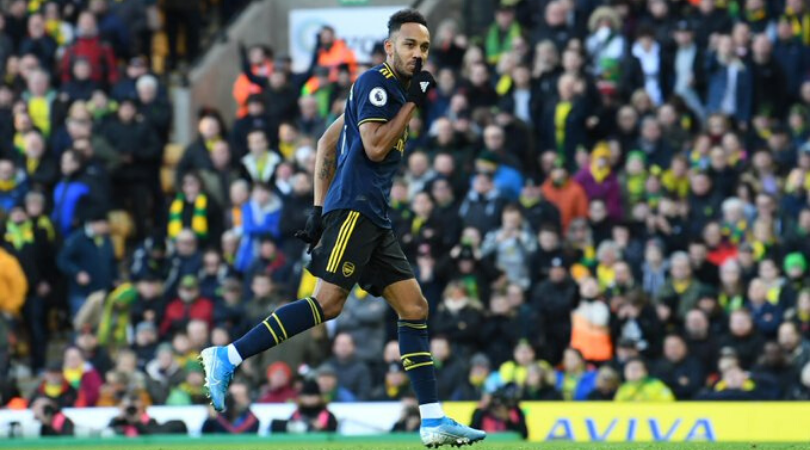 Aubameyang shush celebration Arsenal forward scores before asking Tim Krul to pipe down after VAR Penalty controversy