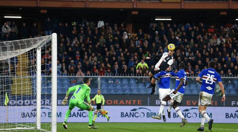 Cristiano Ronaldo puts Juventus in the lead with a devastating leaping header vs Sampdoria