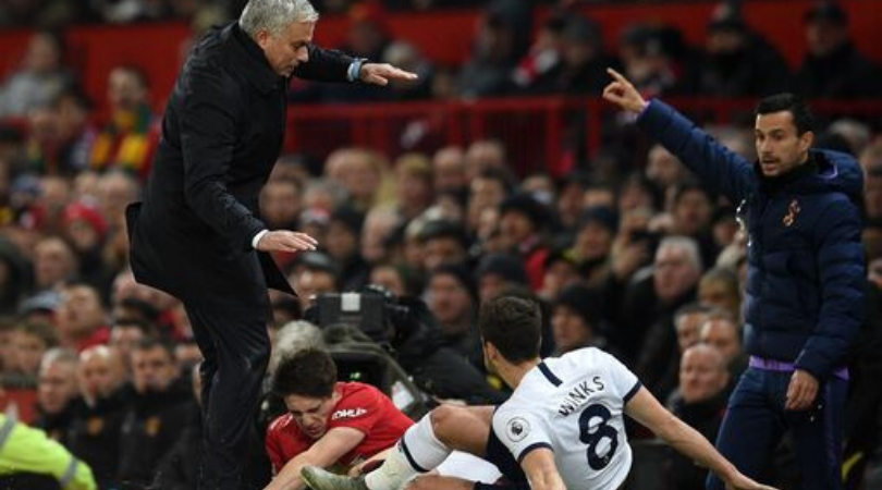 Daniel James nearly takes out Jose Mourinho on the sidelines after going down from a challenge