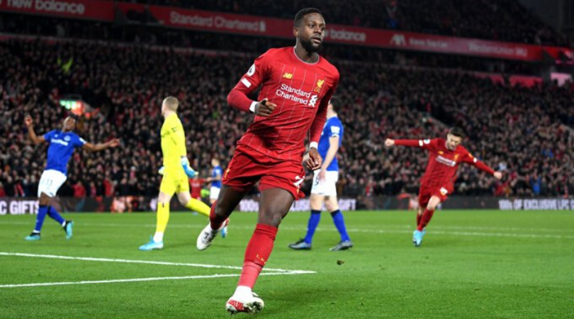 Divock Origi scores his second goal after immaculate first touch vs Everton