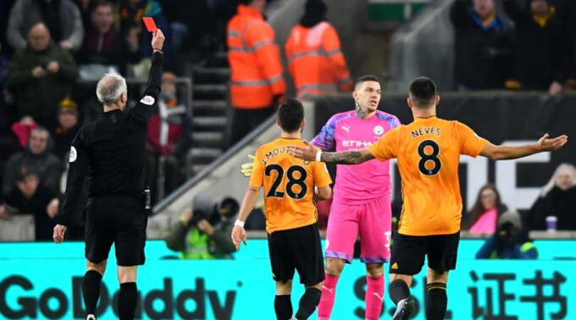 Ederson Red Card Man City reduced to 10 men after Ederson brings Diogo Jota down during Wolves vs Man City