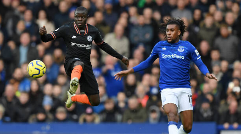 Everton Winger Alex Iwobi was seen dabbing after being dribbled past by N'Golo Kante