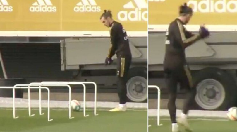 Gareth Bale filmed practicing his golf swing during Real Madrid training