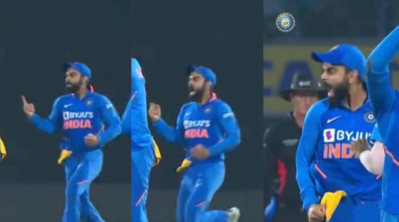 Virat Kohli gives send off to Keiron Pollard as latter had dismissed him in the 1st innings