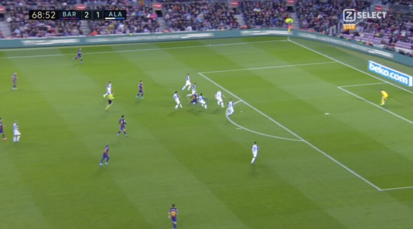 Lionel Messi scores a stunner from 20 yards despite being surrounded by 6 players during Barcelona vs Alaves