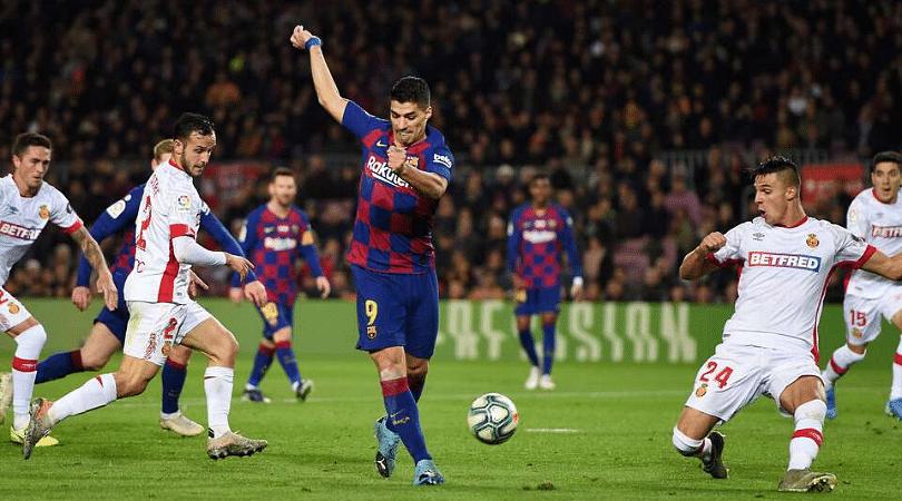 Luis Suarez scores a stunning back heel goal for Barcelona vs Mallorca