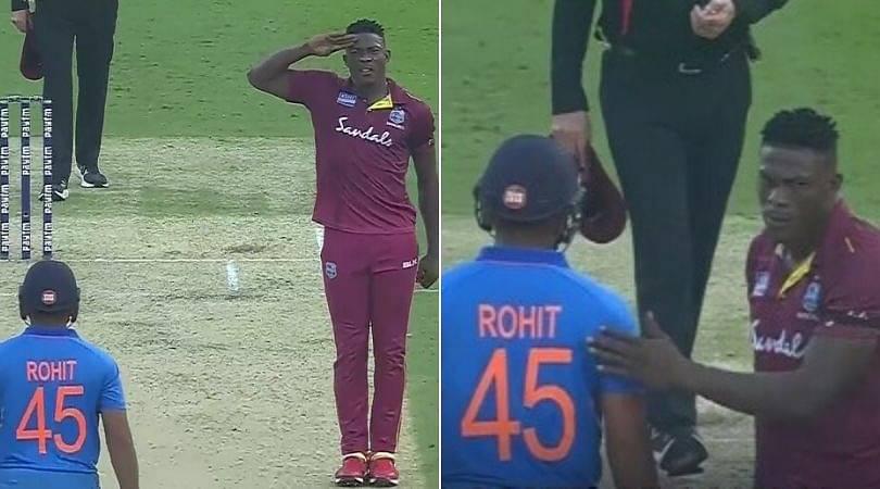 WATCH: Sheldon Cottrell appreciates Rohit Sharma's century after 'salute celebration'