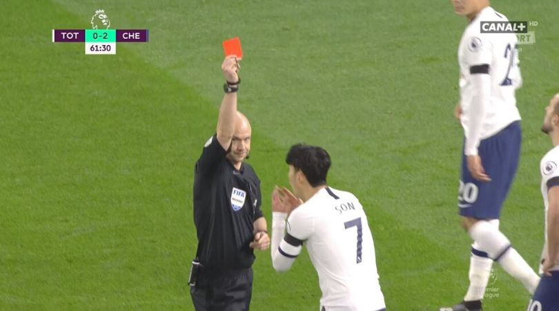 Heung Min Son Red Card: Tottenham superstar picks red card for violent conduct against Chelsea