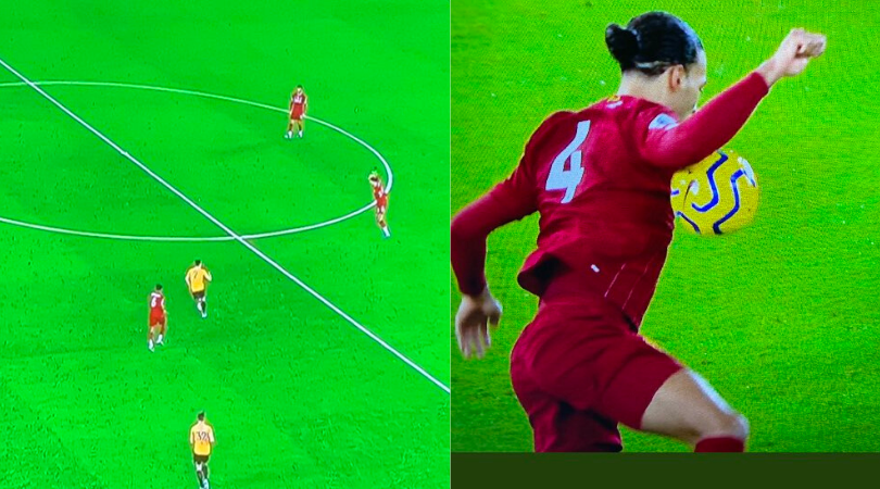 Virgil Van Dijk handled the ball in the build up to Sadio Mane's goal during Liverpool vs Wolves