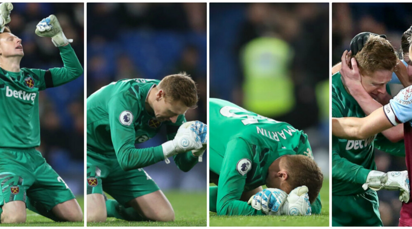 West Ham keeper David Martin breaks down after helping his side beat Chelsea on Premier League debut