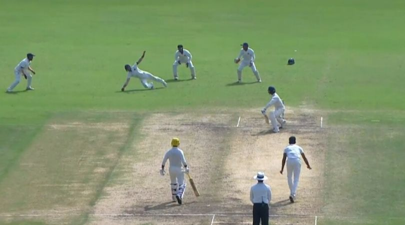 WATCH: Jay Bista grabs sensational one-handed stunner to dismiss Baba Indrajith in Ranji Trophy