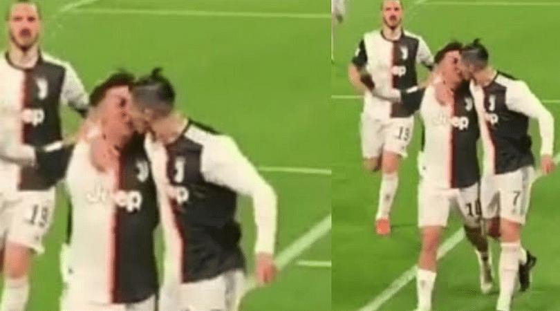 Fan footage showing Cristiano Ronaldo accidentally kiss Paulo Dybala goes viral