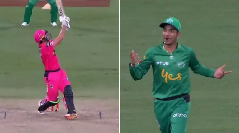 WATCH: Sandeep Lamichhane and Seb Gotch hilariously misjudge Moises Henriques' six in Sixers vs Stars BBL match