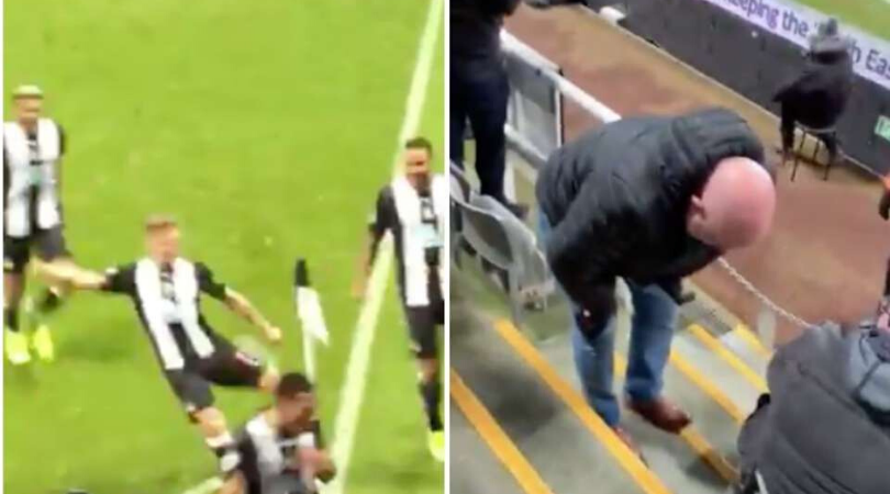 Newcastle Winger Matt Ritchie kicked corner flag into a fans crotch while celebrating winner vs Chelsea