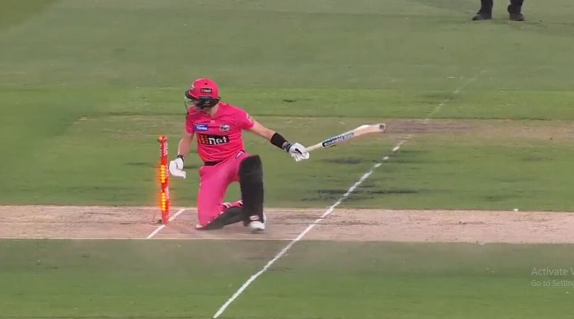 WATCH: Steve Smith survives hit-wicket off Haris Rauf as wind blows away bail in Stars vs Sixers match
