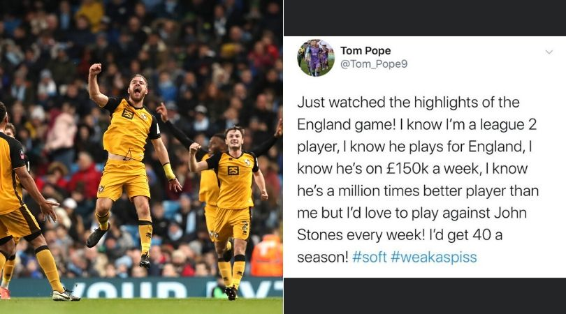 Tom Pope scores against John Stones during match against Manchester City, 7 months ago he tweeted about him
