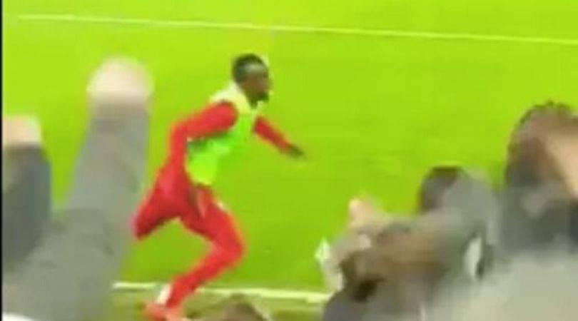 Sadio Mane celebrates more than Curtis Jones after latter scores against Everton