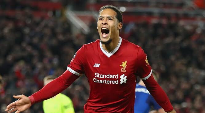 Van Dijk goal vs Man Utd Liverpool star defender jumps over Harry Maguire to give Reds the lead