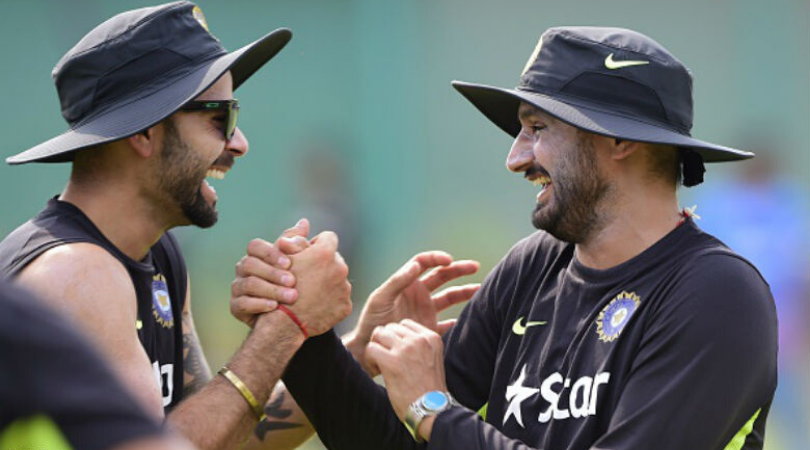 Virat Kohli hilariously mimics Harbhajan Singh's bowling action at Indore