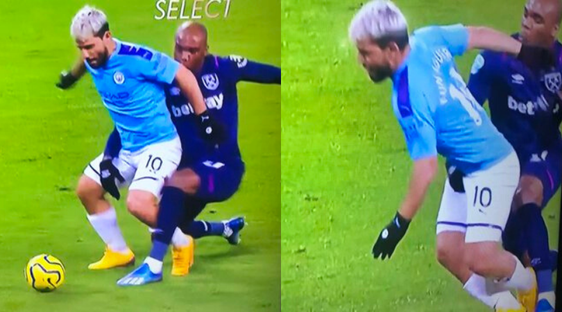 Angelo Ogbonna grabbed Sergio Aguero under the belt and managed to avoid a penalty