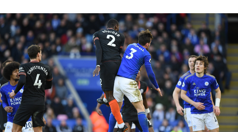 Antonio Rudiger goal vs Leicester The Blues centre back hits a towering header over Kasper Schmeichel to equalise