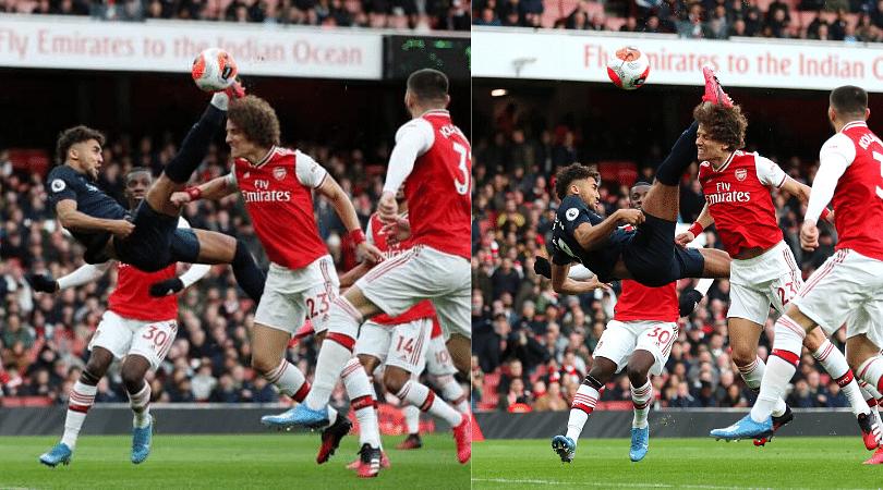 Calvert-Lewin overhead kick goal vs Arsenal Everton forward sends the ball over David Luiz to score a stunner