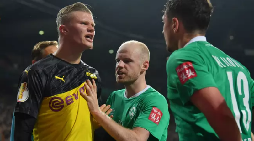 Erling Haaland involved in a furious bust up during Dortmund's exit from the DFB Cup