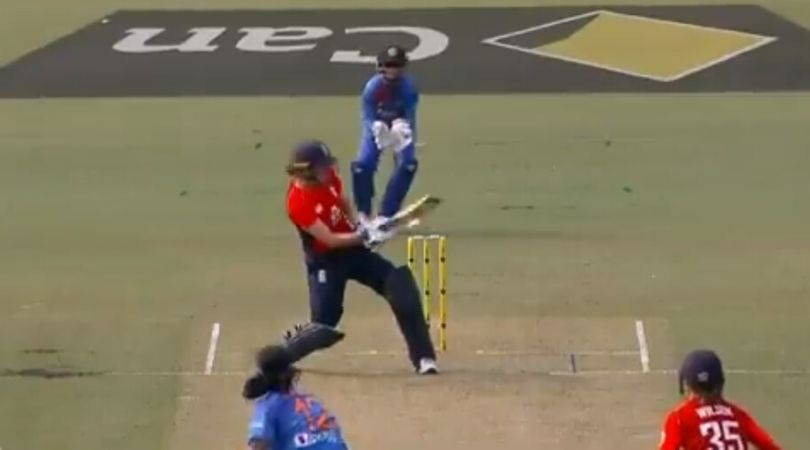 WATCH: Natalie Sciver survives despite edging the ball off Shikha Pandey in Tri-Nation T20 Women's Series