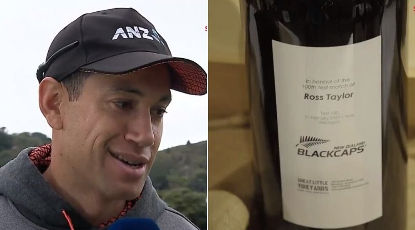 """""""I will need some help"""": Watch Ross Taylor's hilarious reaction on receiving 100 wine bottles on completing 100 Test matches"""