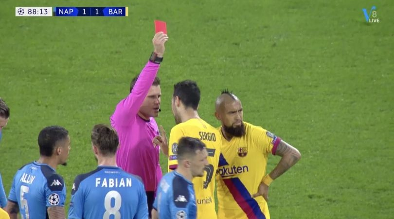Arturo Vidal Red Card: Barcelona superstar to miss return leg for picking two yellow cards in one incident